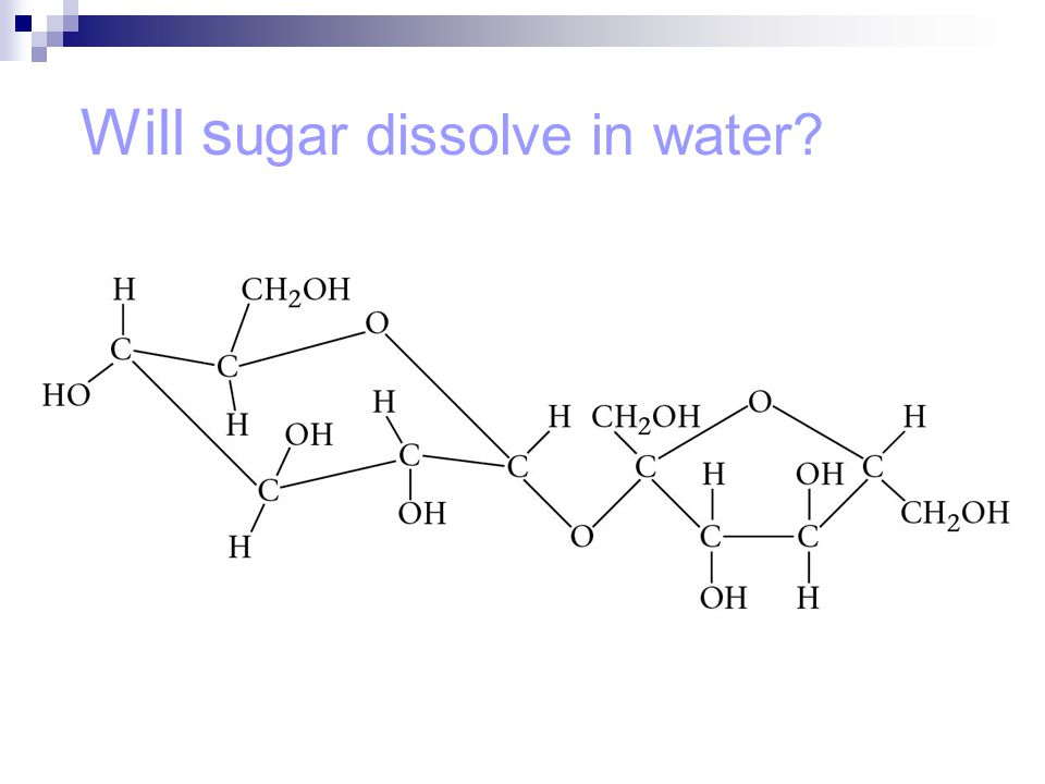 Will sugar dissolve in water
