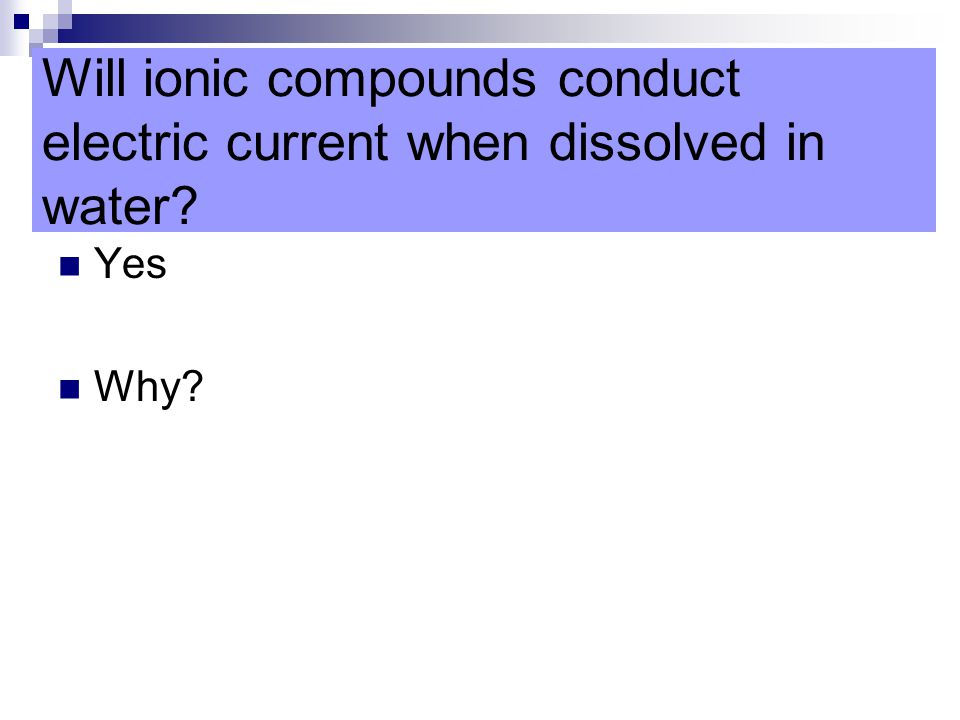 Will ionic compounds conduct electric current when dissolved in water