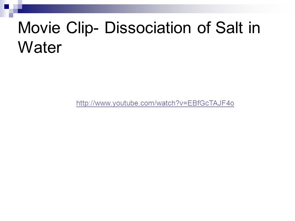 Movie Clip- Dissociation of Salt in Water