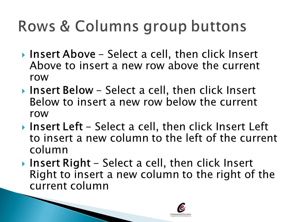 Rows & Columns group buttons