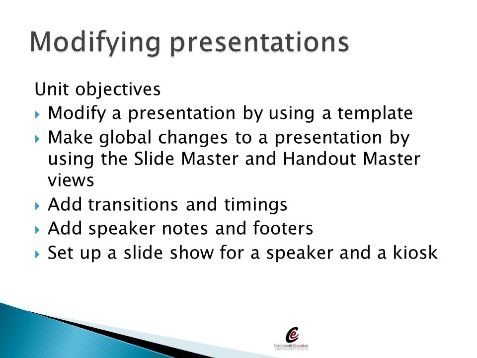 Modifying presentations