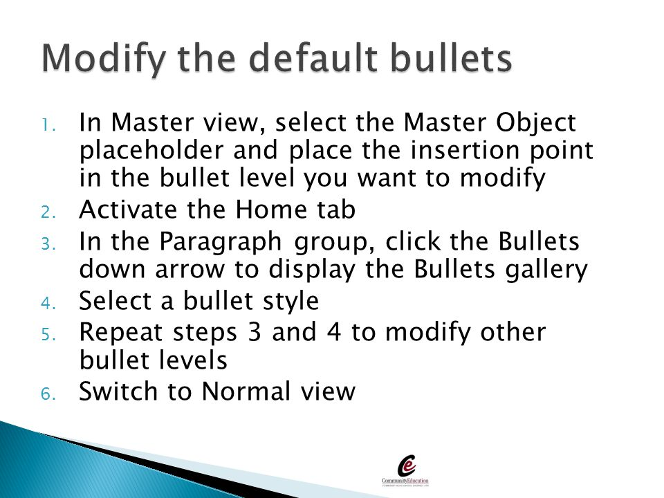 Modify the default bullets