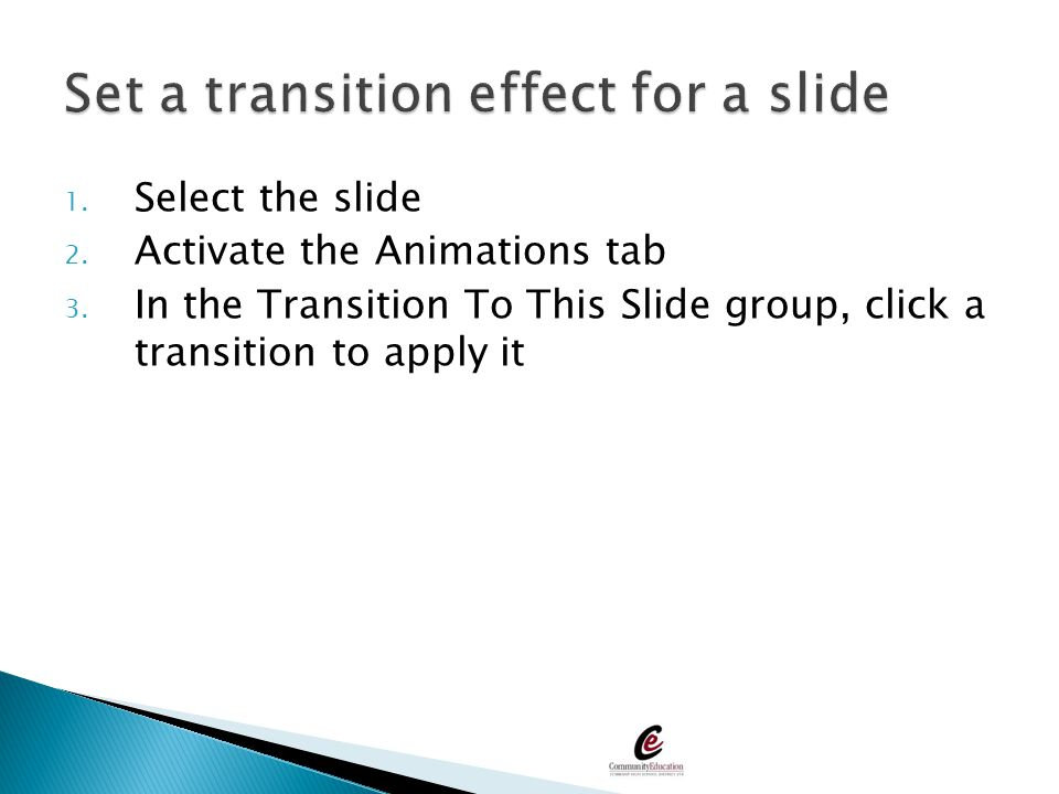Set a transition effect for a slide