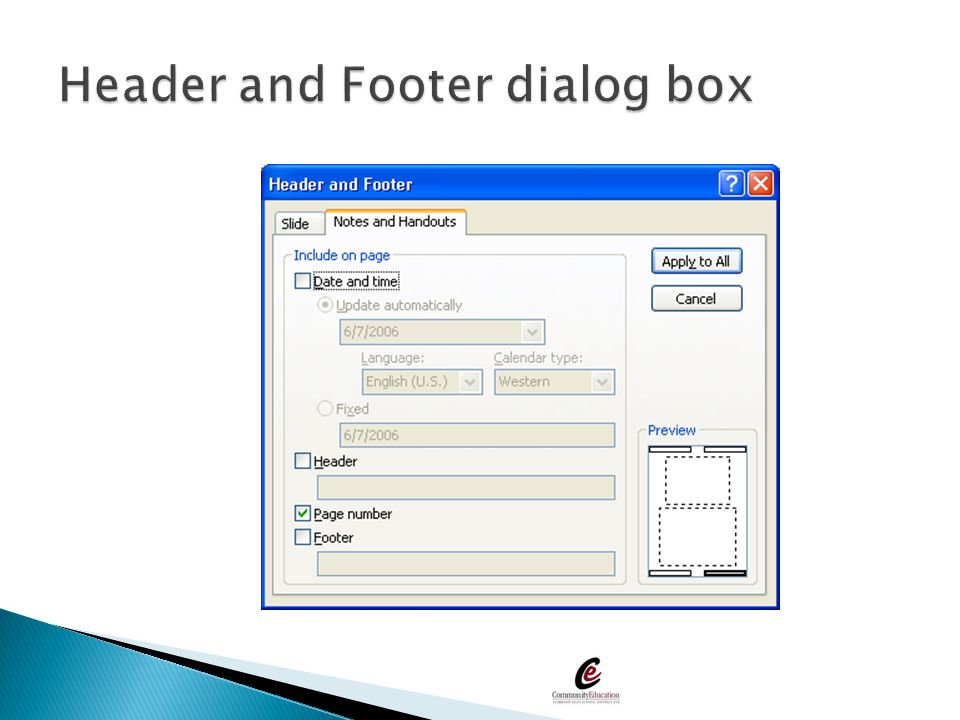 Header and Footer dialog box