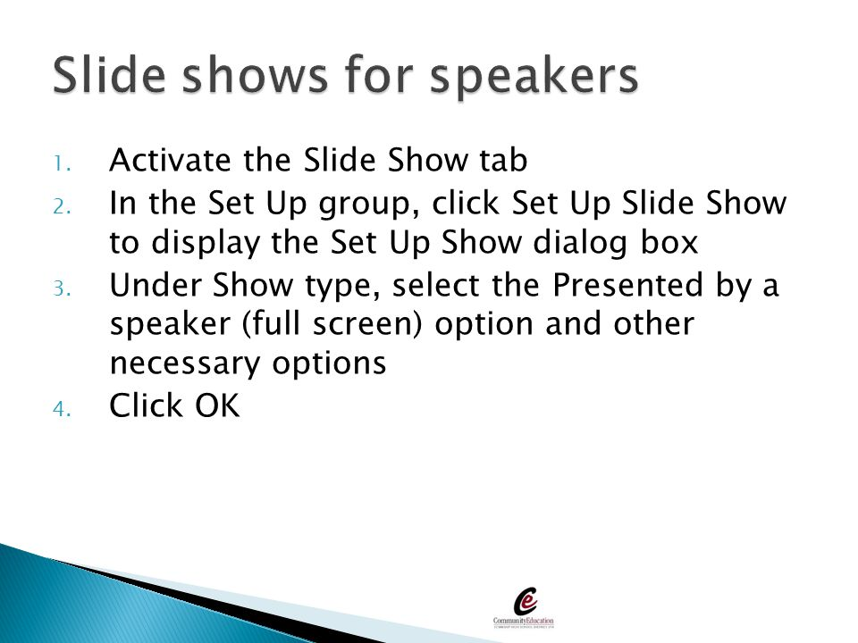 Slide shows for speakers