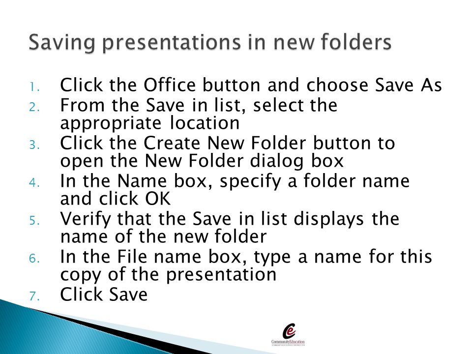Saving presentations in new folders