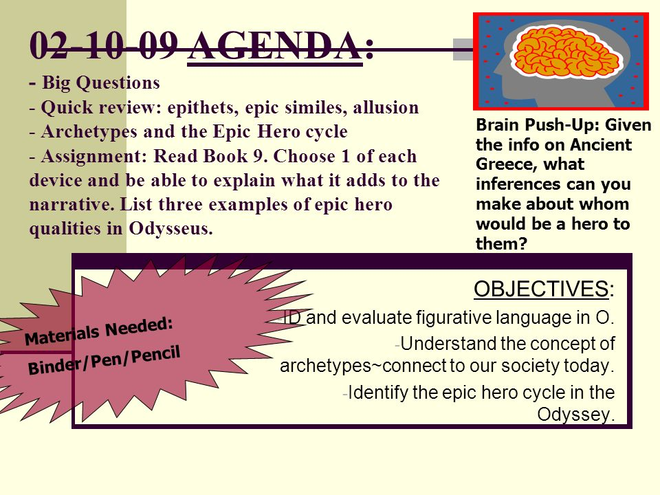 Agenda Big Questions Quick Review Epithets Epic Similes