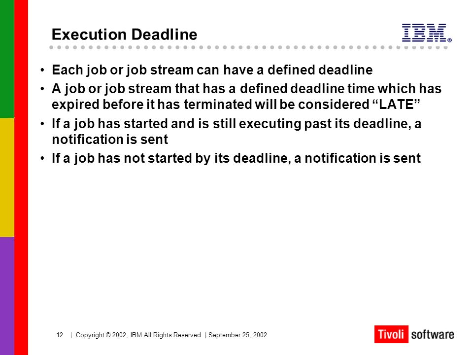 Execution Deadline Each job or job stream can have a defined deadline