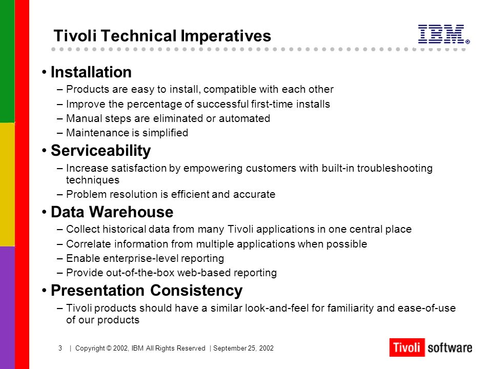 Tivoli Technical Imperatives