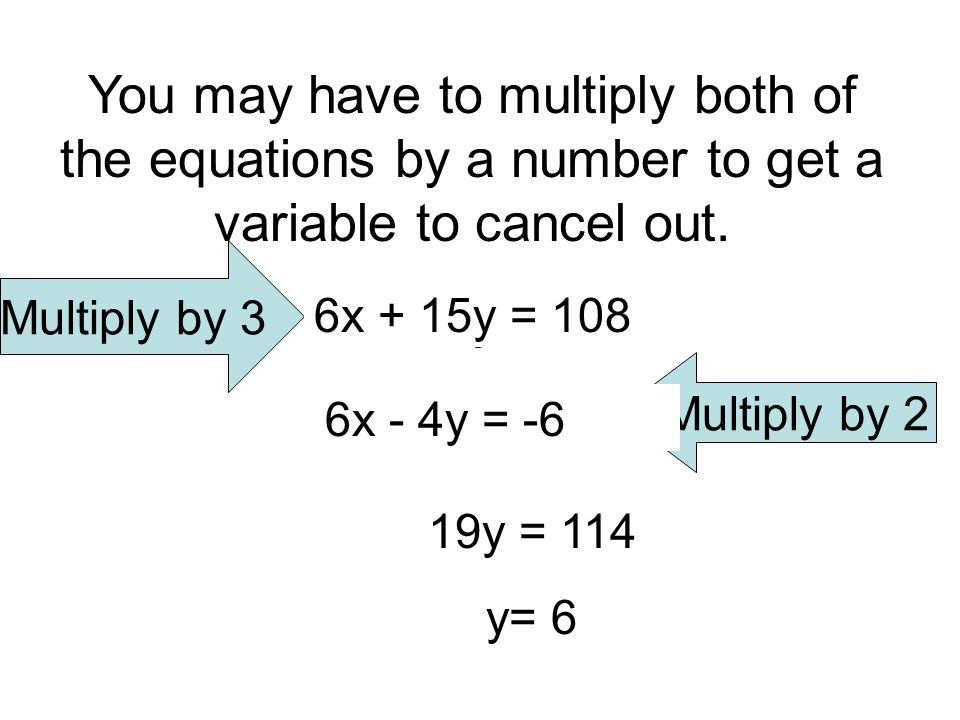 You may have to multiply both of the equations by a number to get a variable to cancel out.