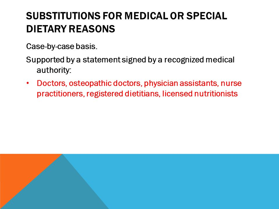 Substitutions for medical or special dietary reasons