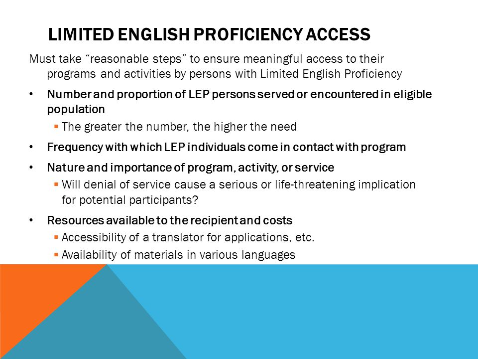 Limited English proficiency access