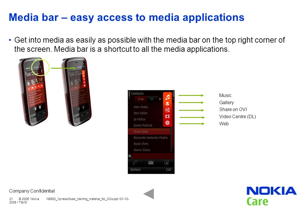 Media bar – easy access to media applications