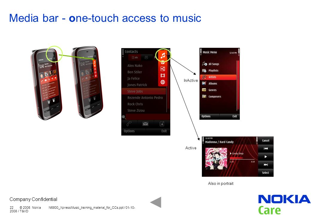 Media bar - one-touch access to music