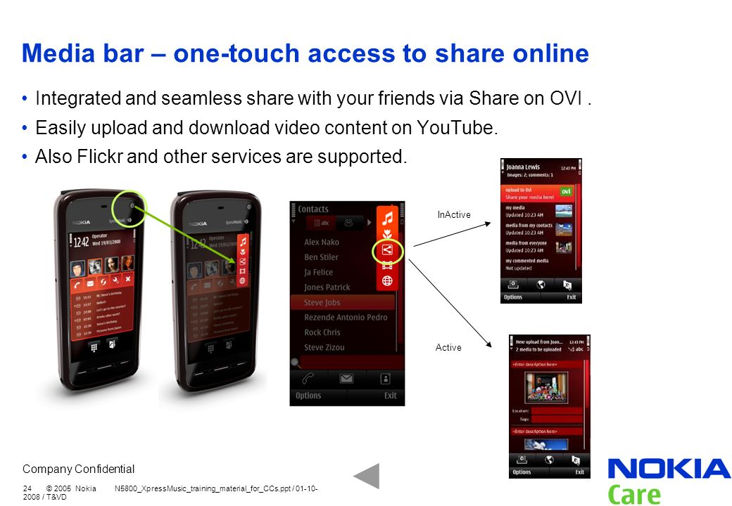 Media bar – one-touch access to share online