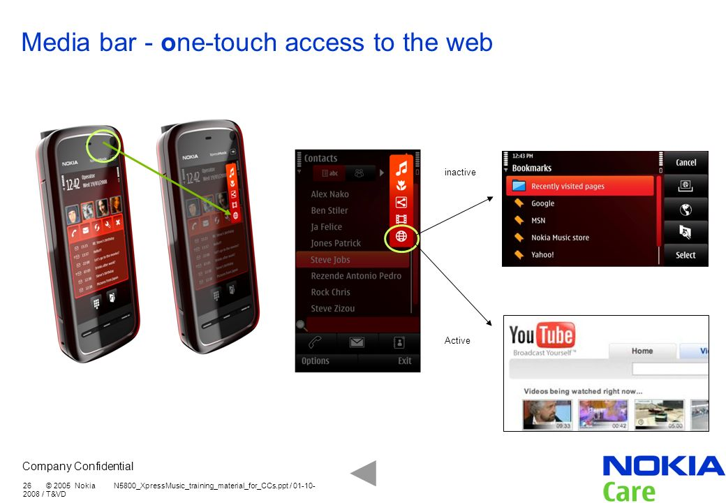 Media bar - one-touch access to the web
