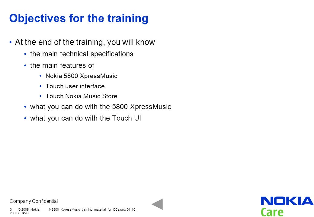 Objectives for the training