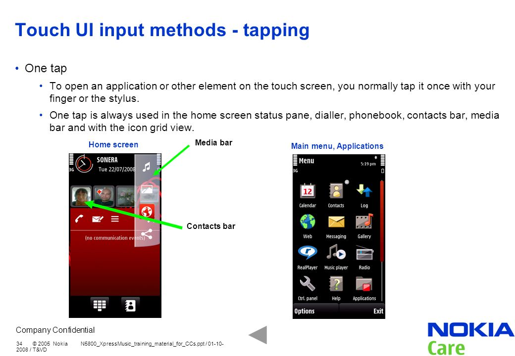 Touch UI input methods - tapping