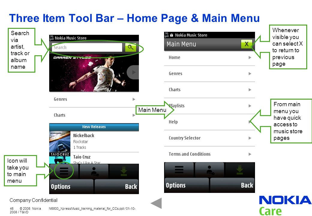 Three Item Tool Bar – Home Page & Main Menu