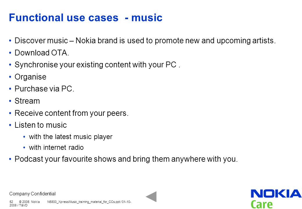 Functional use cases - music