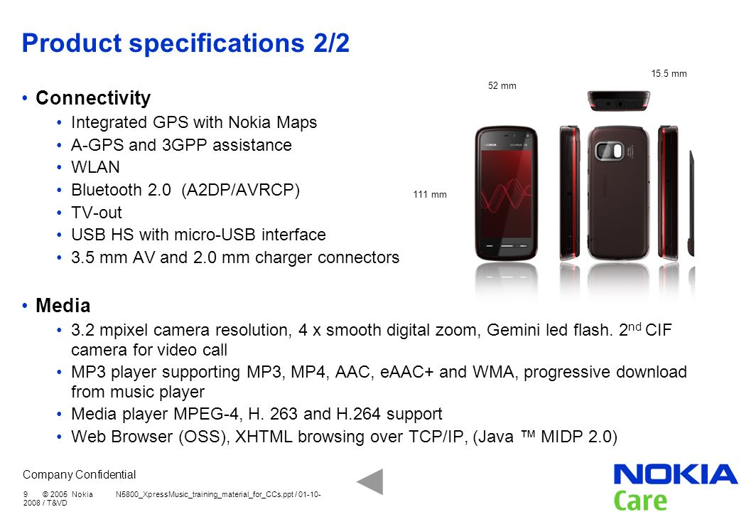 Product specifications 2/2