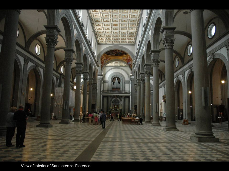 View of interior of San Lorenzo, Florence