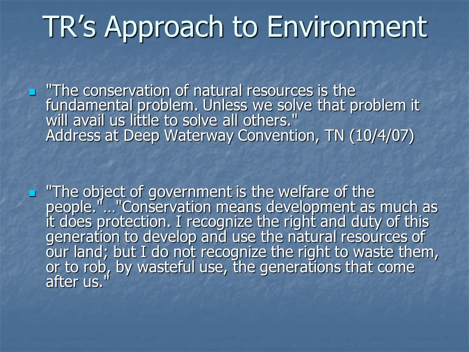 TR's Approach to Environment