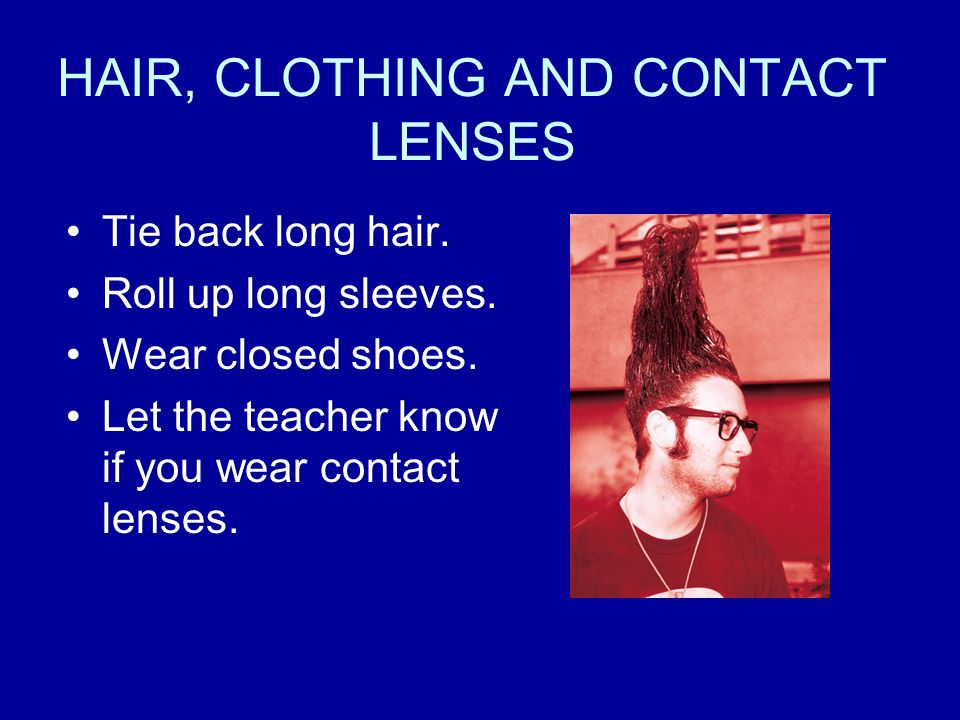 HAIR, CLOTHING AND CONTACT LENSES
