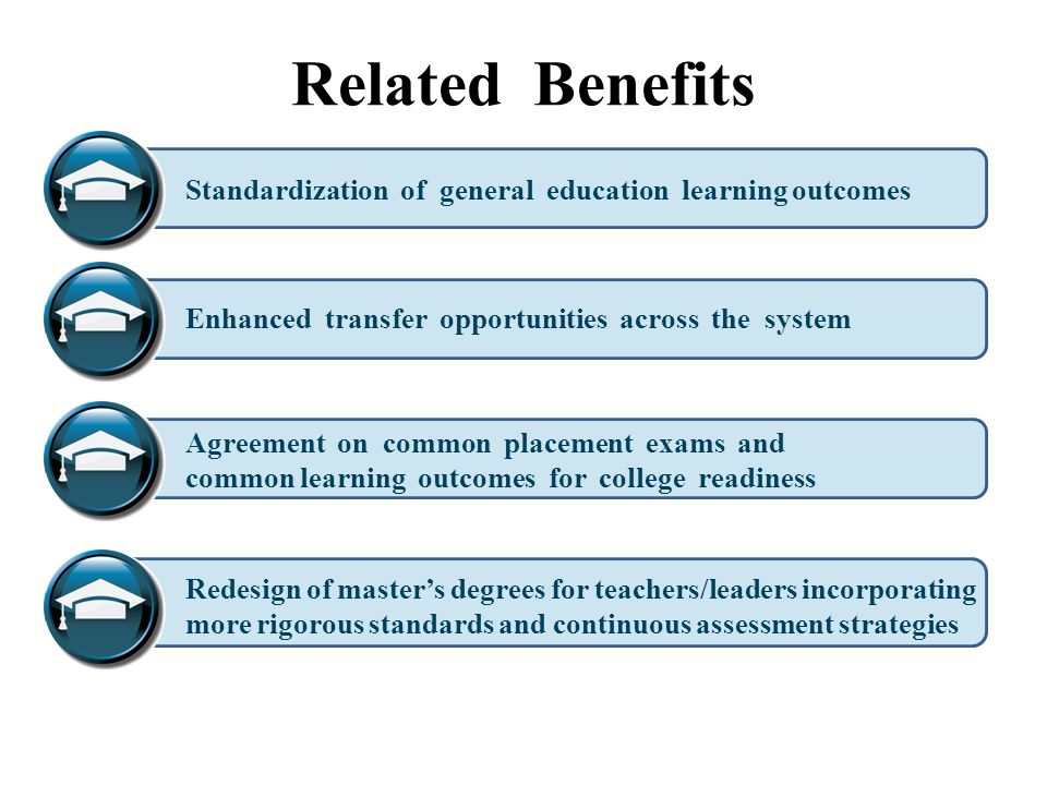 Related Benefits Standardization of general education learning outcomes. Enhanced transfer opportunities across the system.