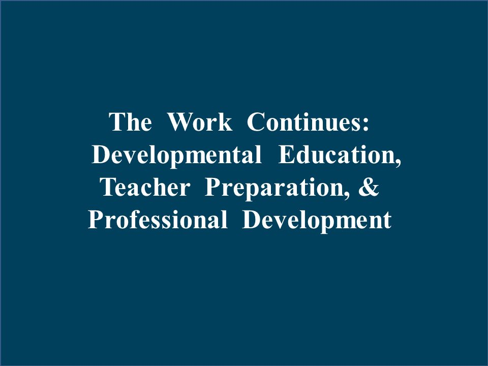 Developmental Education, Professional Development