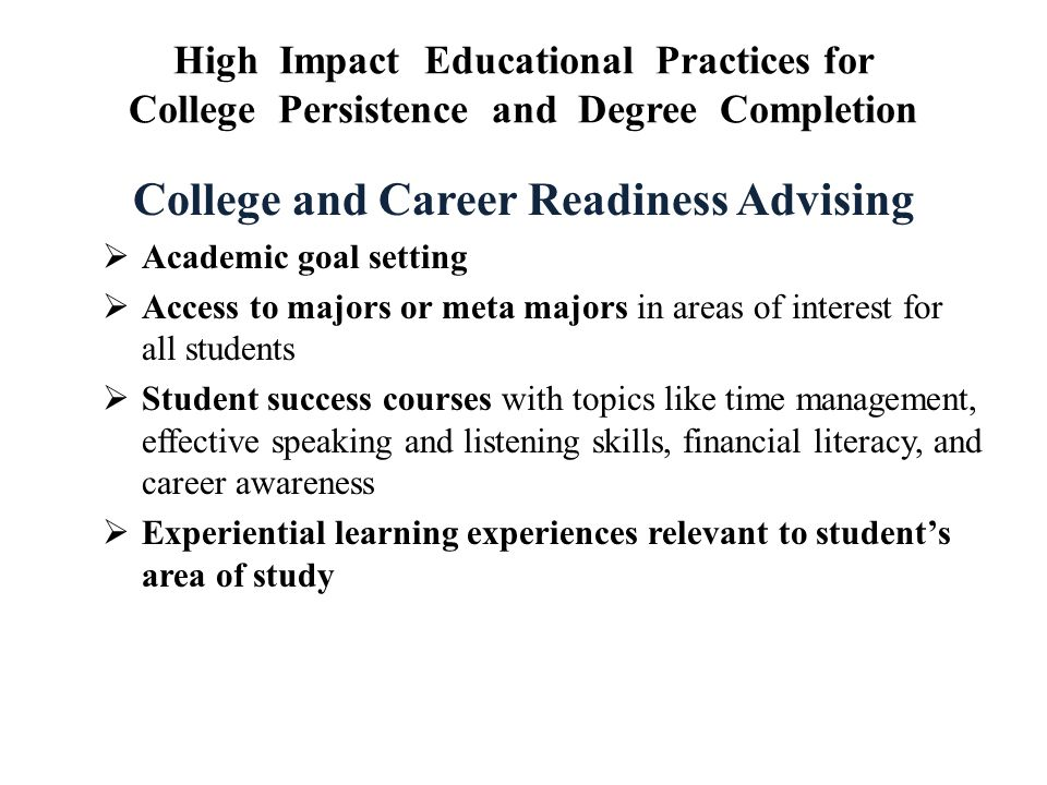 College and Career Readiness Advising