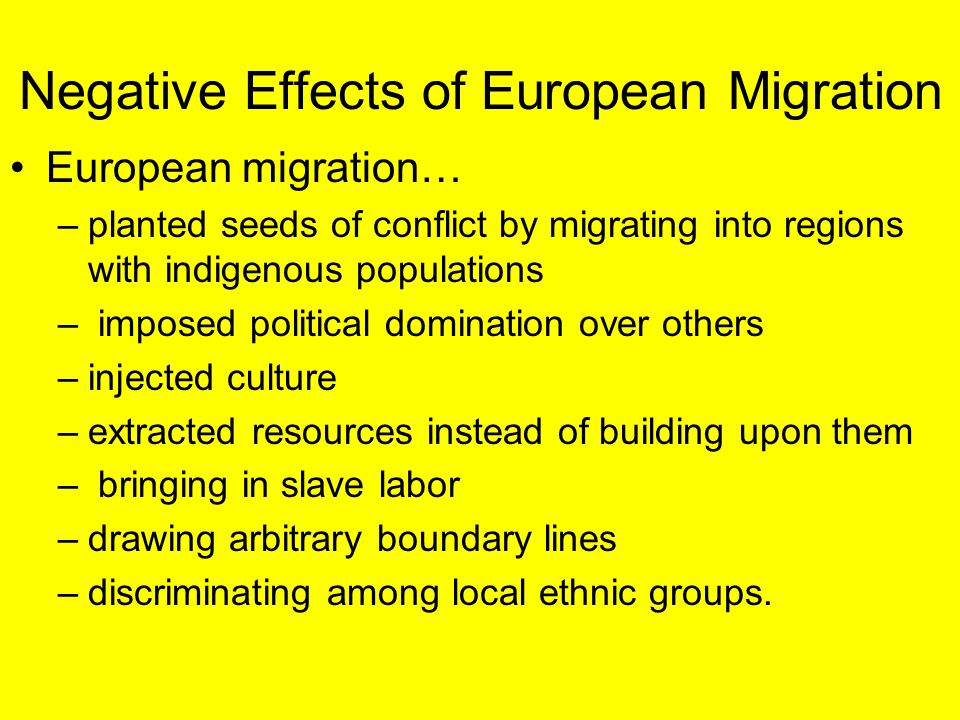 Negative Effects of European Migration