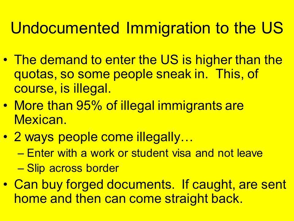Undocumented Immigration to the US