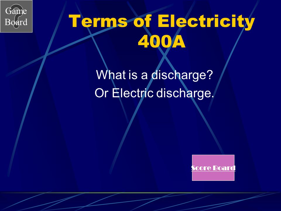 Terms of Electricity 400A What is a discharge Or Electric discharge.
