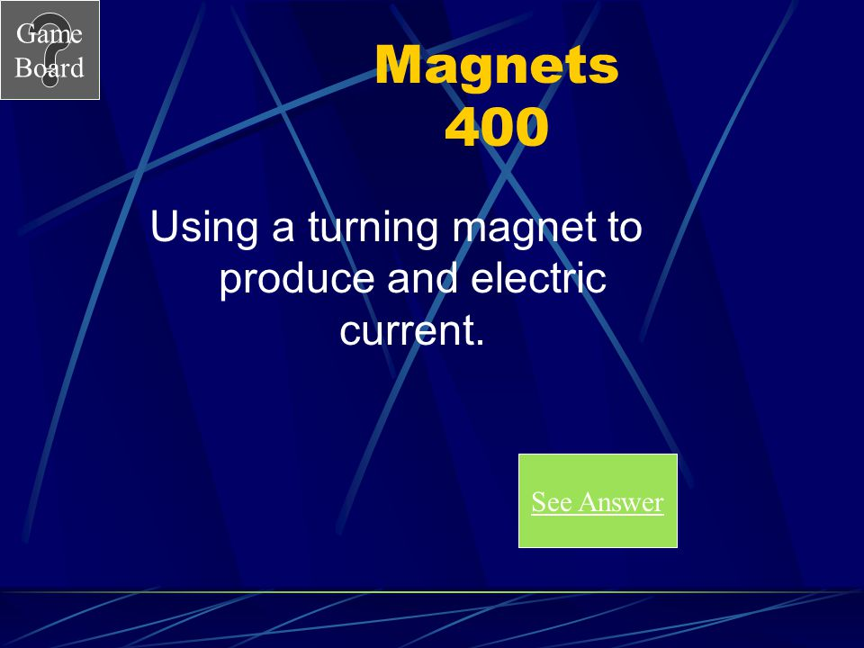Using a turning magnet to produce and electric current.