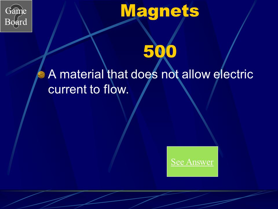 Magnets 500 A material that does not allow electric current to flow.