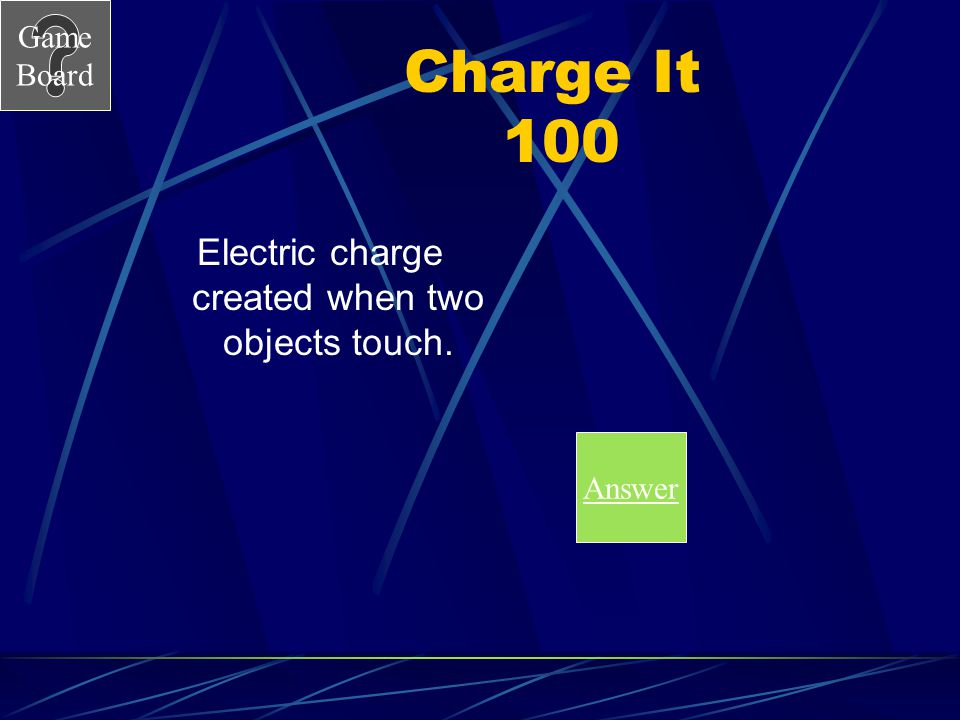Electric charge created when two objects touch.