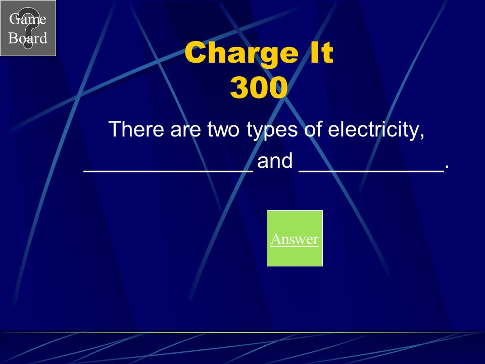 Charge It 300 There are two types of electricity,