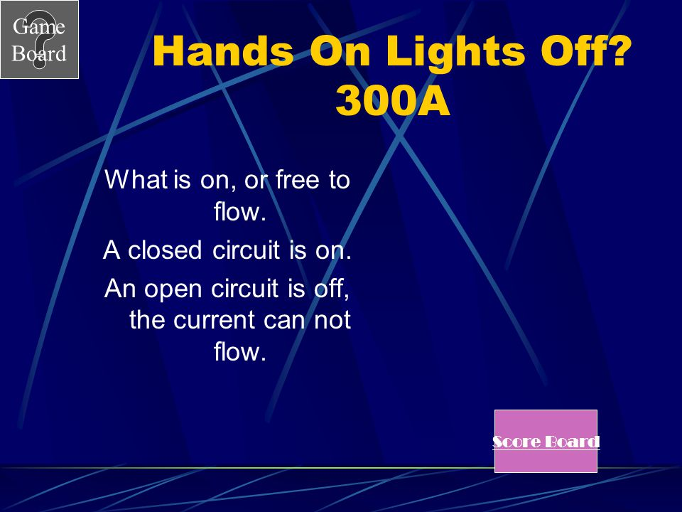 Hands On Lights Off 300A What is on, or free to flow.