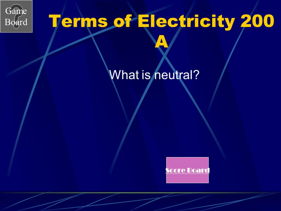 Terms of Electricity 200 A What is neutral Score Board