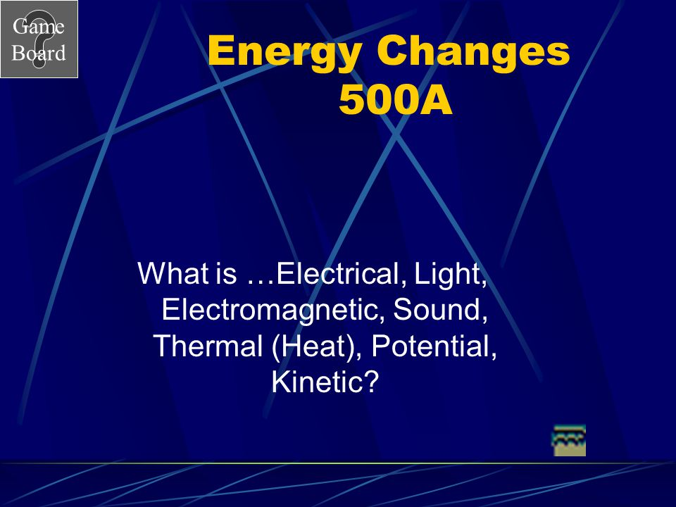Energy Changes 500A What is …Electrical, Light, Electromagnetic, Sound, Thermal (Heat), Potential, Kinetic