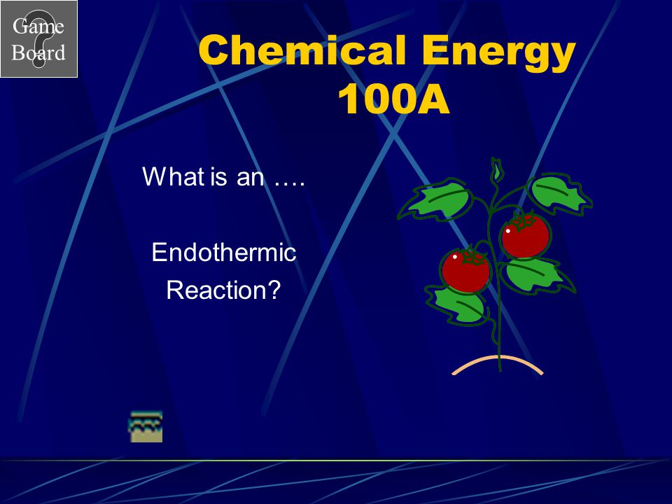 Chemical Energy 100A What is an …. Endothermic Reaction