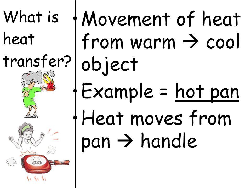Movement of heat from warm  cool object