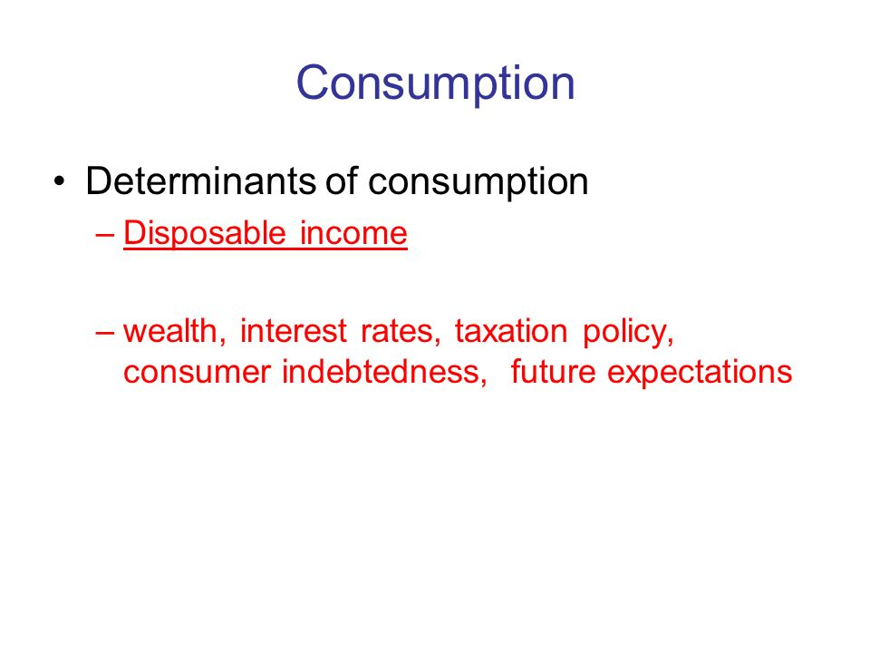 Consumption Determinants of consumption Disposable income