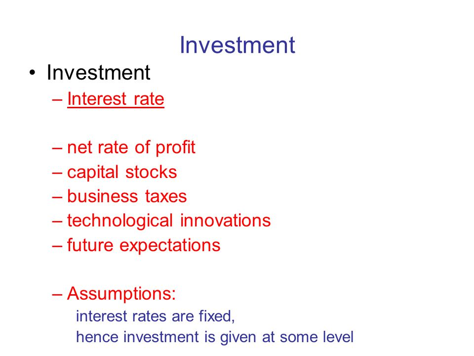 Investment Investment Interest rate net rate of profit capital stocks