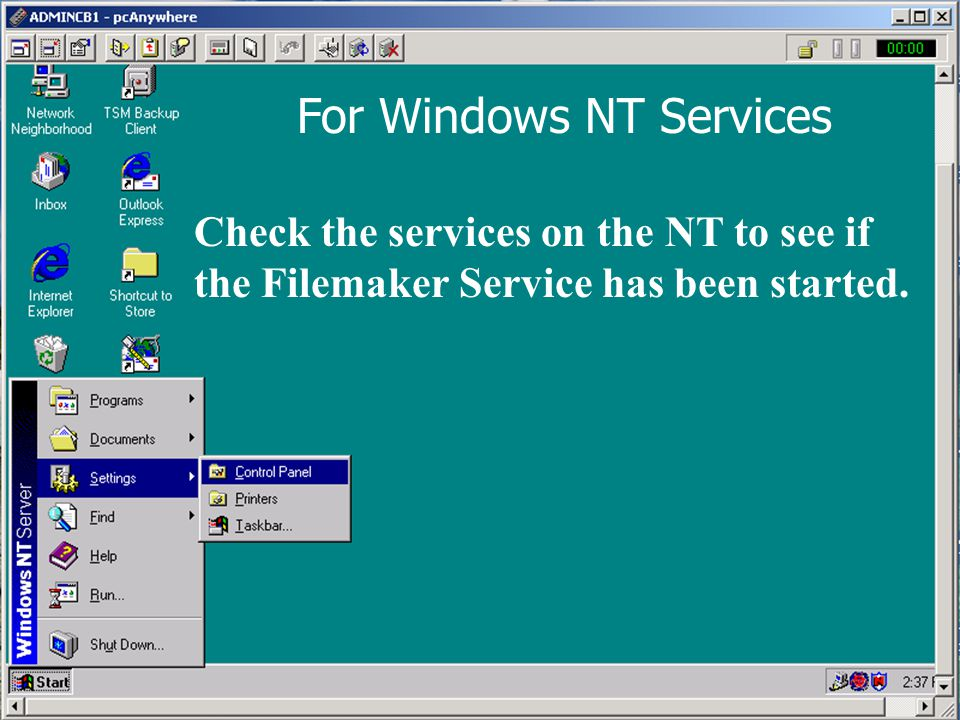 For Windows NT Services