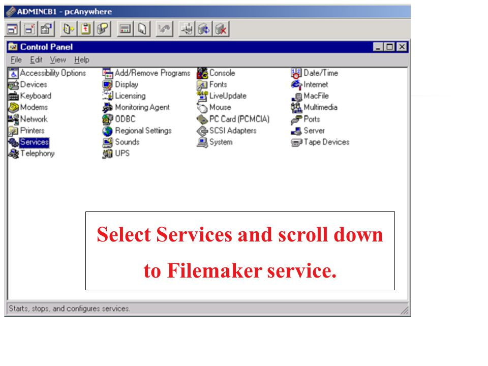 Select Services and scroll down to Filemaker service.