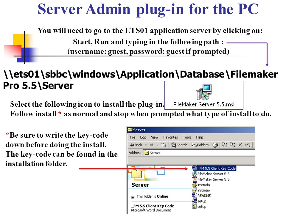 Server Admin plug-in for the PC You will need to go to the ETS01 application server by clicking on: