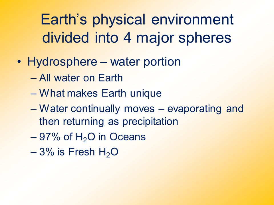 Earth's physical environment divided into 4 major spheres