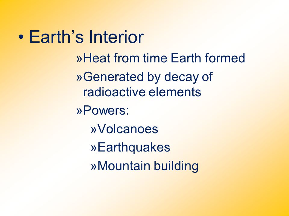 Earth's Interior Heat from time Earth formed